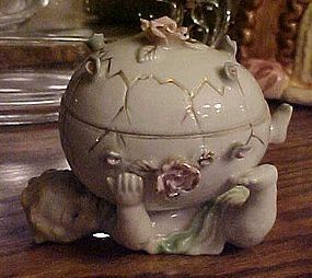 Old Royal Sealy child with rose covered egg trinket box