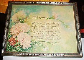 Vintage  original framed Motto My Mother poem 1933