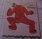 Vintage 1950's Red Flannel underwear Christmas card