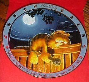 Garfield Dear Diary series plate, What a night Danbury