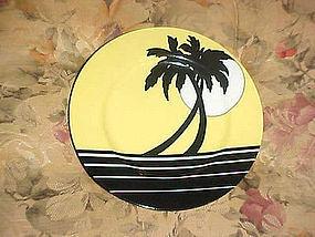 Fitz & Floyd Palm Beach yellow and black salad plate