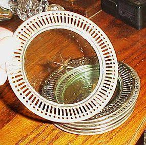 6 vintage chrome and glass coasters cut star bottom