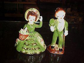 Vintage Japan green southern belle and gentleman