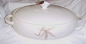 Winfield China Passion Flower Lg oval casserole with lid Mid Century