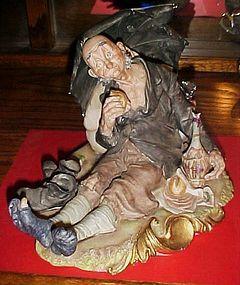 Capodimonte Bruno Merli homeless man wino bum  hobo figurine S 8390