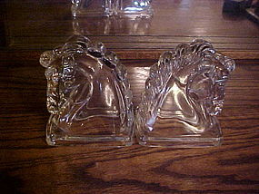 Glass Trojan horse head bookends Federal Glass Co