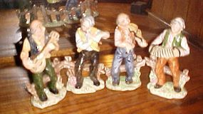"""Four piece hand painted Italian musicians band figurines 7 3/4"""" tall"""