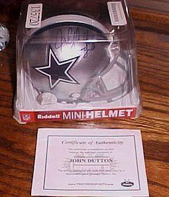 Dallas Cowboys John Dutton authentic autographed mini helmet