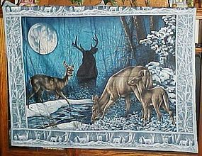 Finished fabric wall hanging Deer family in the woods ready to hang