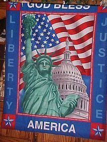 Finished  fabric God Bless America Lady Liberty wall hanging