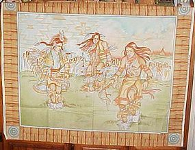 1 yd uncut fabric panel  Native American Indian dancers new old stock