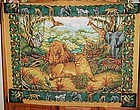 1 yd uncut fabric panel Lion family and jungle animals  new old stock
