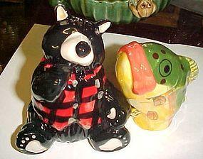 Adorable large salt pepper shakers Black bear and fish