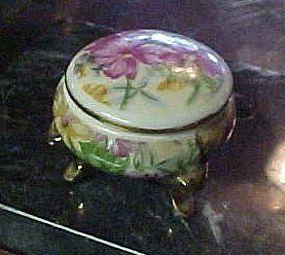 Fancy floral chintz 3 legged porcelain ring box