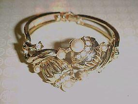 Vintage Coro goldtone bracelet with rhinestones and pearls