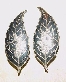 Vintage Siam Sterling leaf earrings with dancers