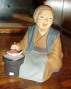 Vintage Wales Old Japanese woman with fish figurine Hakata Urasaki