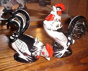 VIntage ceramic chicken roosters pair 2073
