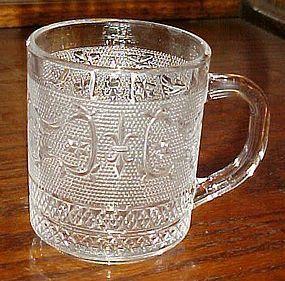 Clear sandwich glass fleur de lis S coffee mug