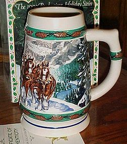 """1993 Budweiser Holiday stein """"Special Delevery"""" in box"""