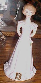 Enesco Growing up girl birthday figurine #13 brown hair