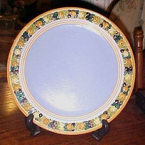 Hand Painted Italy Della Robbia yellow blue embossed fruit rim plate