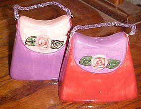 Ladies handbag purse ceramic  salt and pepper shakers