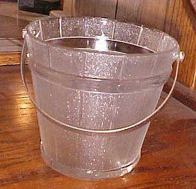 Vintage wood textured glass ice bucket hammered handle