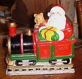 Santa and Christmas train ceramic cookie jar