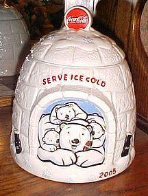2005 Coca Cola Igloo and polar bears cookie jar
