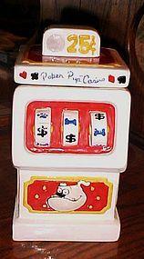 Poker Pup casino slot machine cookie jar treat jar for dogs