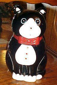 Black and whiite tuxedo kitty cat cookie jar