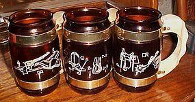 Vintage Siesta ware brown glass barrel mugs western themed