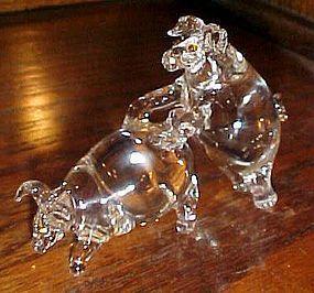 Unusual Makin' bacon hand blown glass pigs figurine X-rated