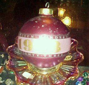 Rare hallmark 1983 Nineteen Hundred Eighty Three glass ball ornament