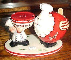 Home Interiors Cinnamon and Sugar shakers set Santa Claus and Baker