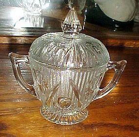 Jeanette crystal Iris and Herringbone sugar bowl and lid