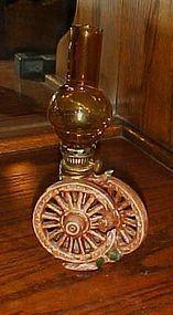 Vintage miniature ceramic wagon wheels miniature oil lamp