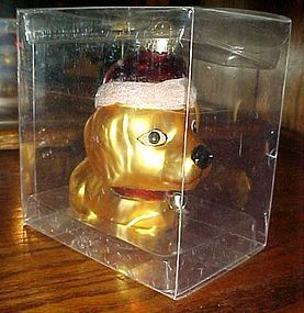 Large Hand blown glass puppy dog ornament with Santa hat MIB