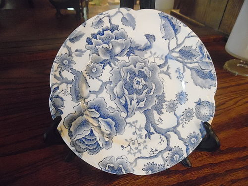 """Johnson Brothers English Chippendale 7"""" plate blue chintz"""