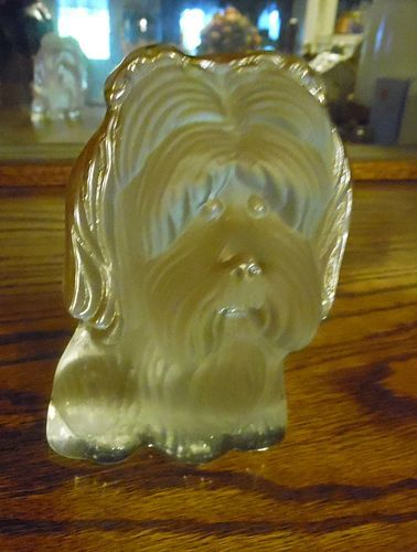 Viking Glass clear frosted Yorkie Shih Tzu  dog