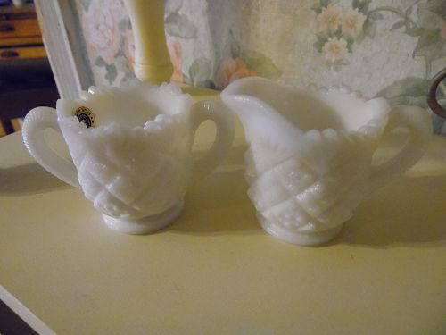 Westmoreland milk glass childs  small creamer and sugar