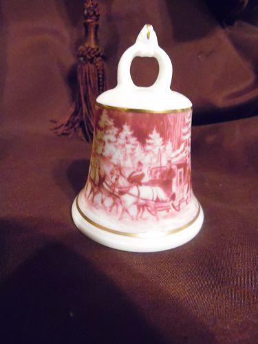Kaiser Germany porcelain bell red transferware coach scene