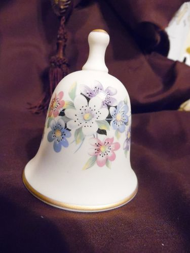 Ibis Aveiro Porcelain Bell  Multi Floral Design Hand Painted Portugal