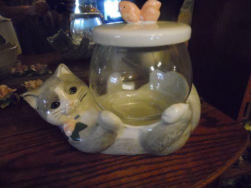 Treasure Craft kitten cat and fish bowl cookie jar