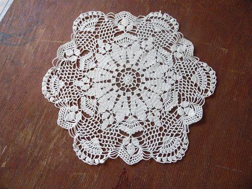 """Vintage 12"""" hand crochet ecru doily acorns and fans"""
