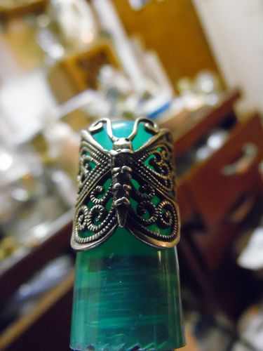 Sterling silver butterfly ring with gem stones