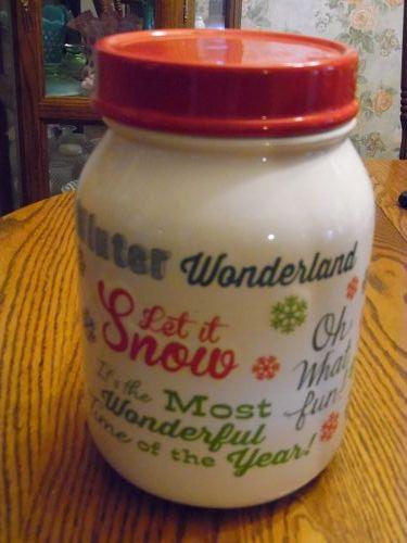Large Mixed Christmas sayings ceramic cookie jar