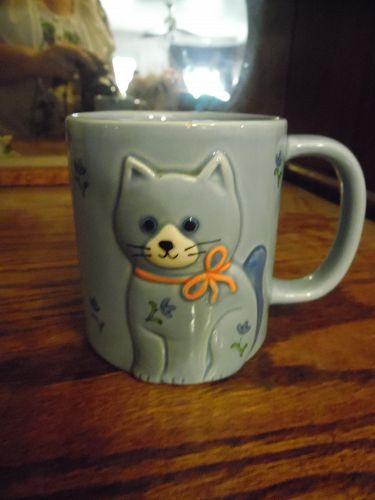 Otagiri  ceramic coffee mug Cat Kitten Calico Blue Japan Vtg 80s