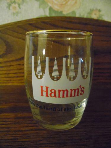 "Vintage Hamm's Beer Barrel White Pines Glass w/ Gold Rim 3 1/8"""